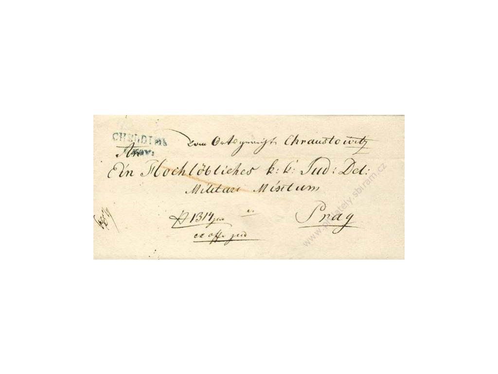 Chrudim, modré razítko, skládaný dopis