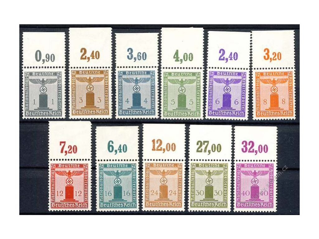 1942, 1-40Pf služební série, MiNr.155-65, **/*