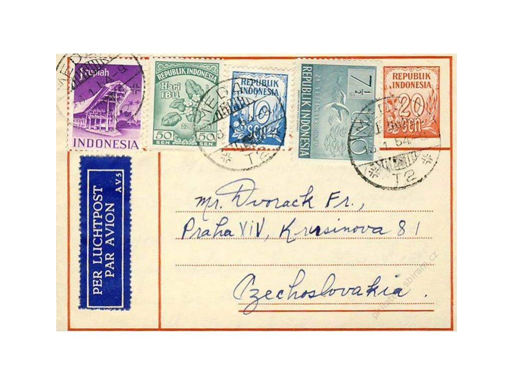 Indonésie, 1954, DR Méda, let. zálepka 20S