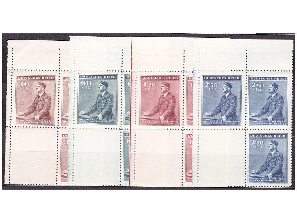 1942, 30h-2.50K Hitler, levé horní roh.4bloky s kupony,  Nr.74-7, **