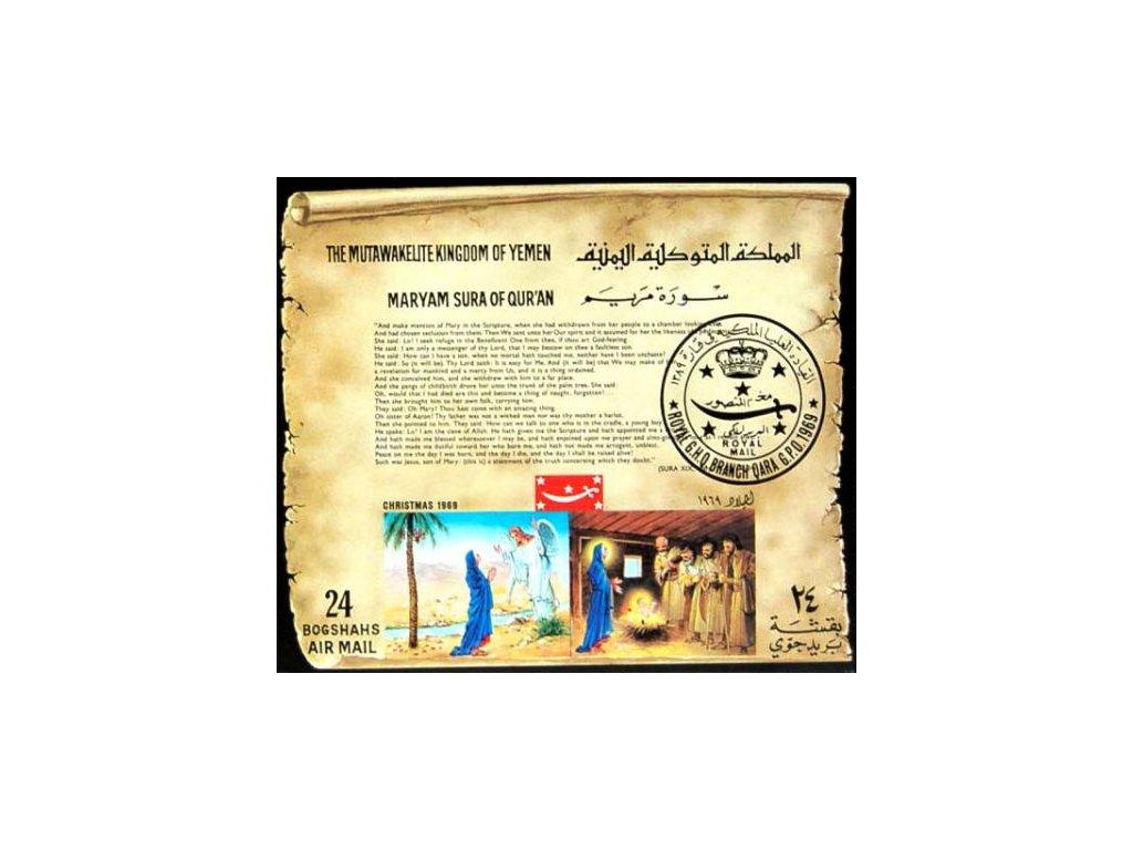Jemen, 1969, aršík 24B Vánoce, (*)