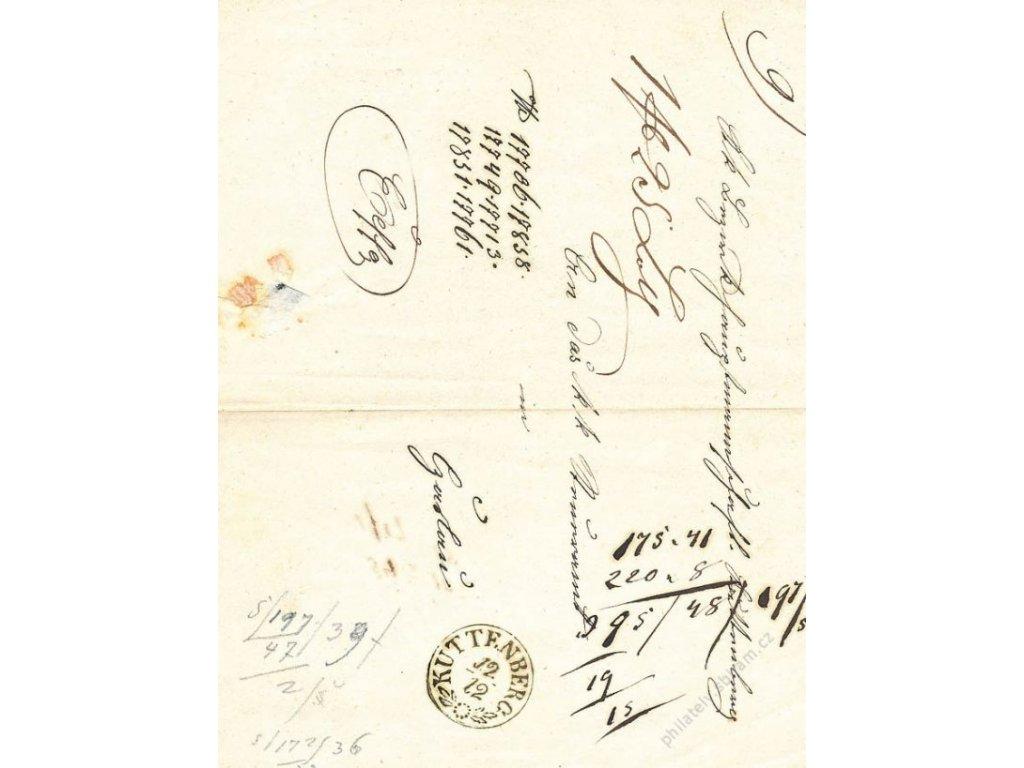 Kuttenberg, formulář z roku 1850, přeloženo