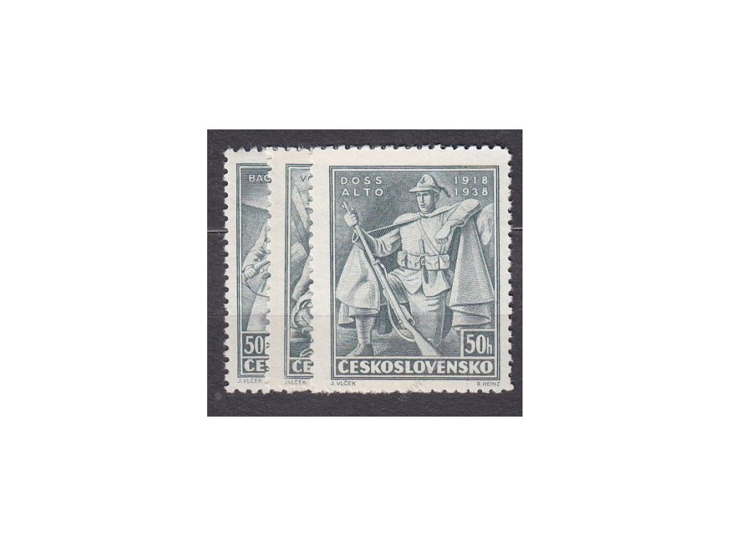 1938, 50h Vojenské, 3 hodnoty, Nr.336-8, **