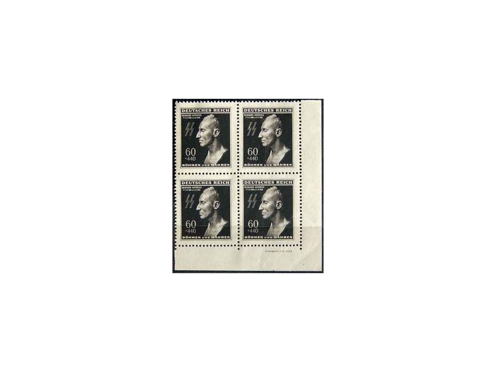 1943, 60h Heydrich, rohový čtyřblok se jménem autora, Nr.111, **