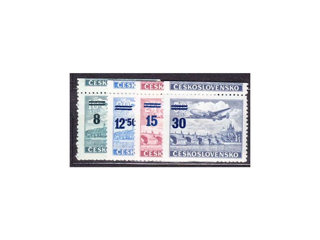 1949, 8-30Kčs Letecké, horní okraje, Nr.L29-32, **