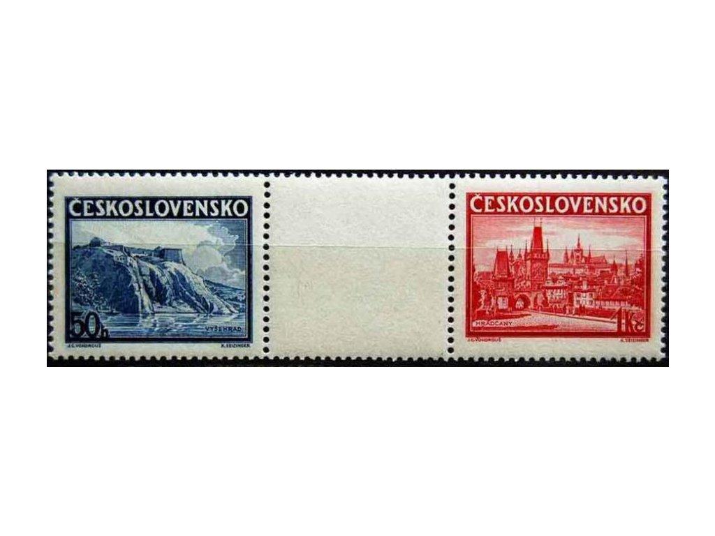 1938, 50h-1Kč Praga, spojka, Nr.S342-3, **