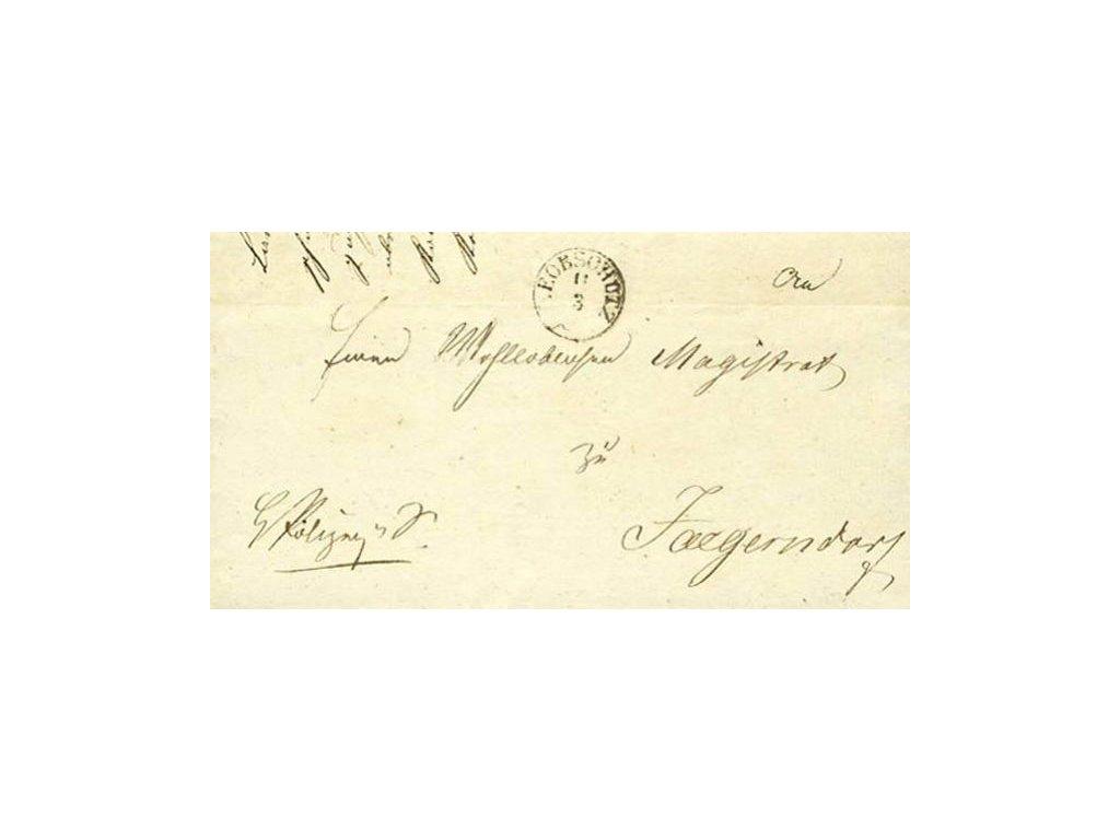 Leobschutz, skládaný dopis z roku 1843