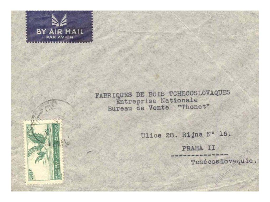 Libanon, 1947, DR Tripoli, let. dopis zasl. do ČSR
