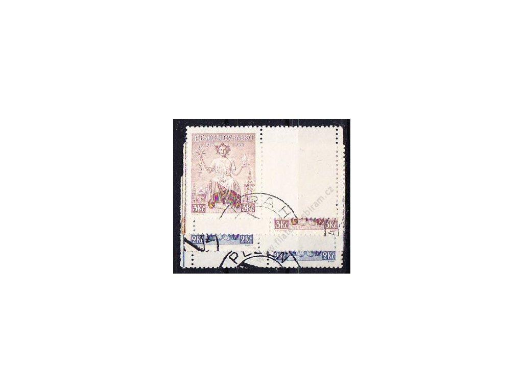 1938, 2-3Kč série Republika, kupony, Nr.348-9K, razítkované, ilustrační foto