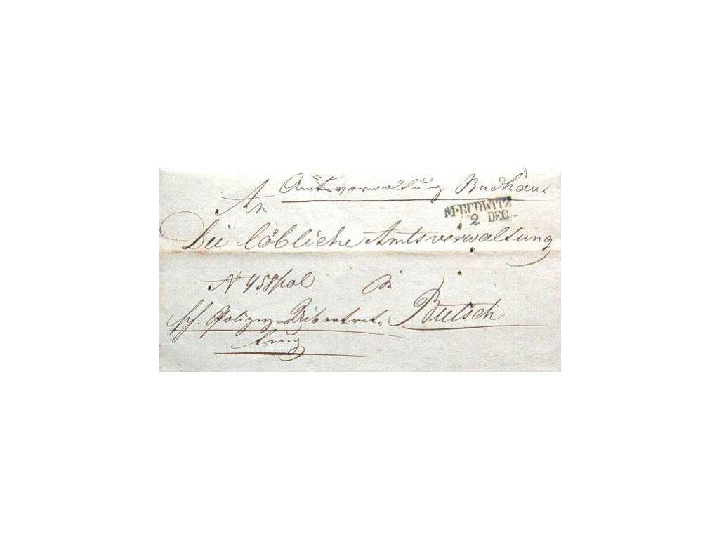 M.Budwitz, skládaný dopis z roku 1849