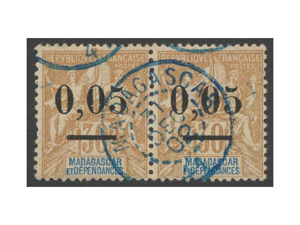 Madagaskar, 1902, 0.05C/30C Alegorie, razítko