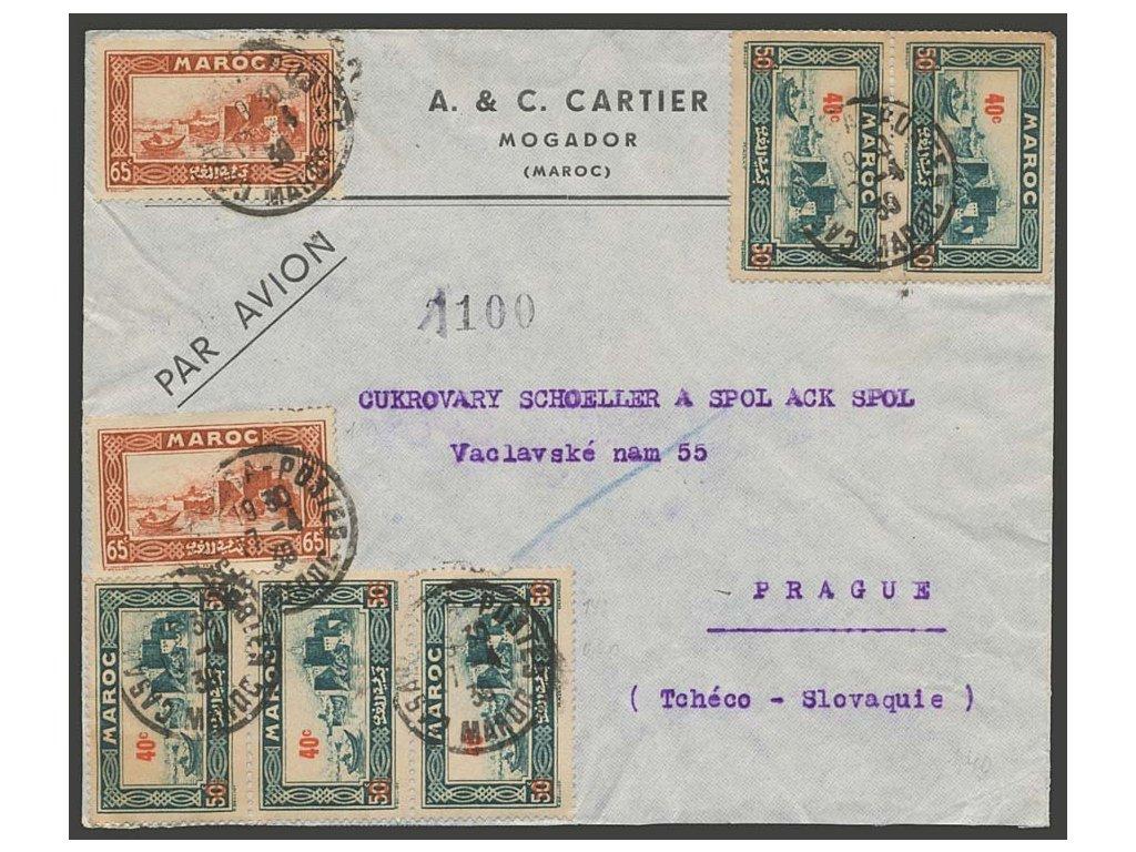 Maroko, 1939, DR Mocador, dopis zasl. letecky do ČSR