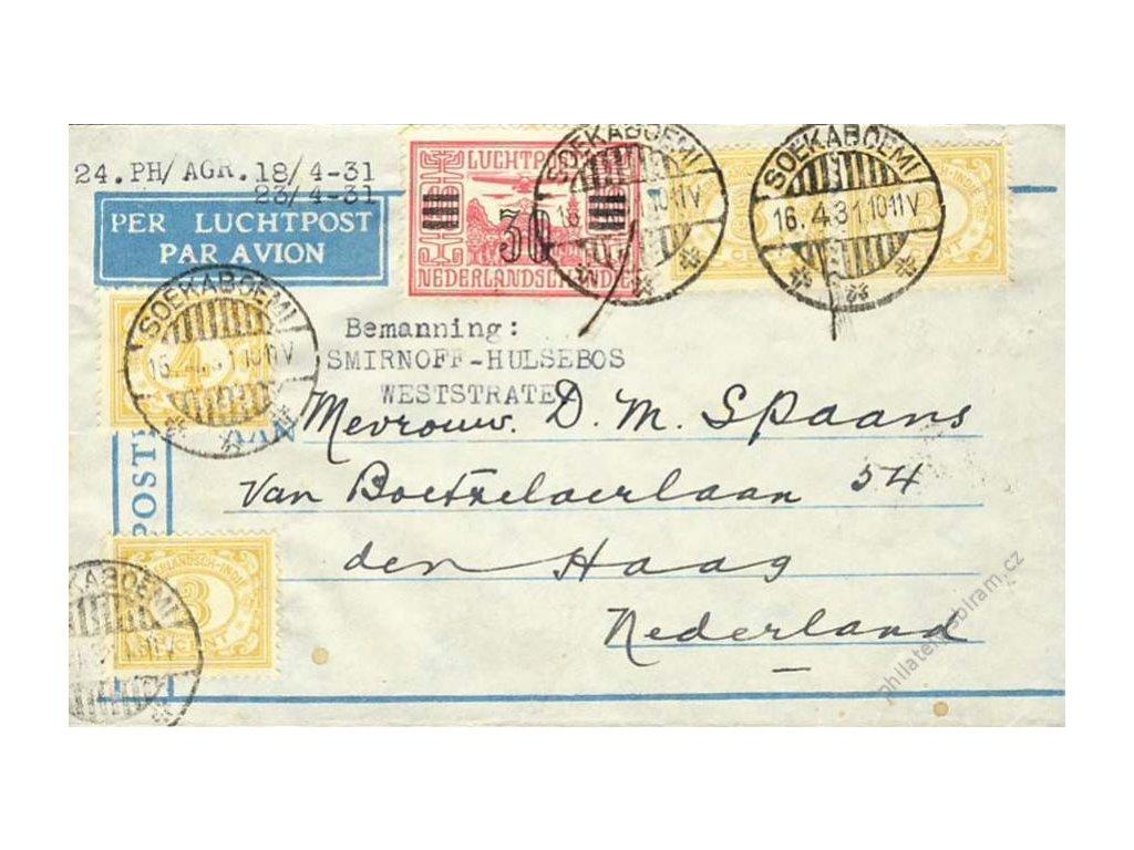 Indie, 1931, DR Soekabcemi, letecký dopis