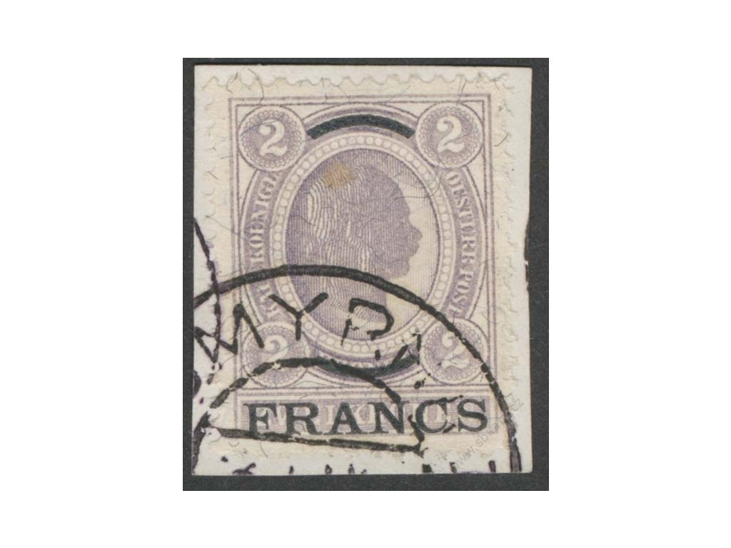 Kréta, 1903, 2Fr/2Kr Franc Josef, MiNr.6, výstřižek