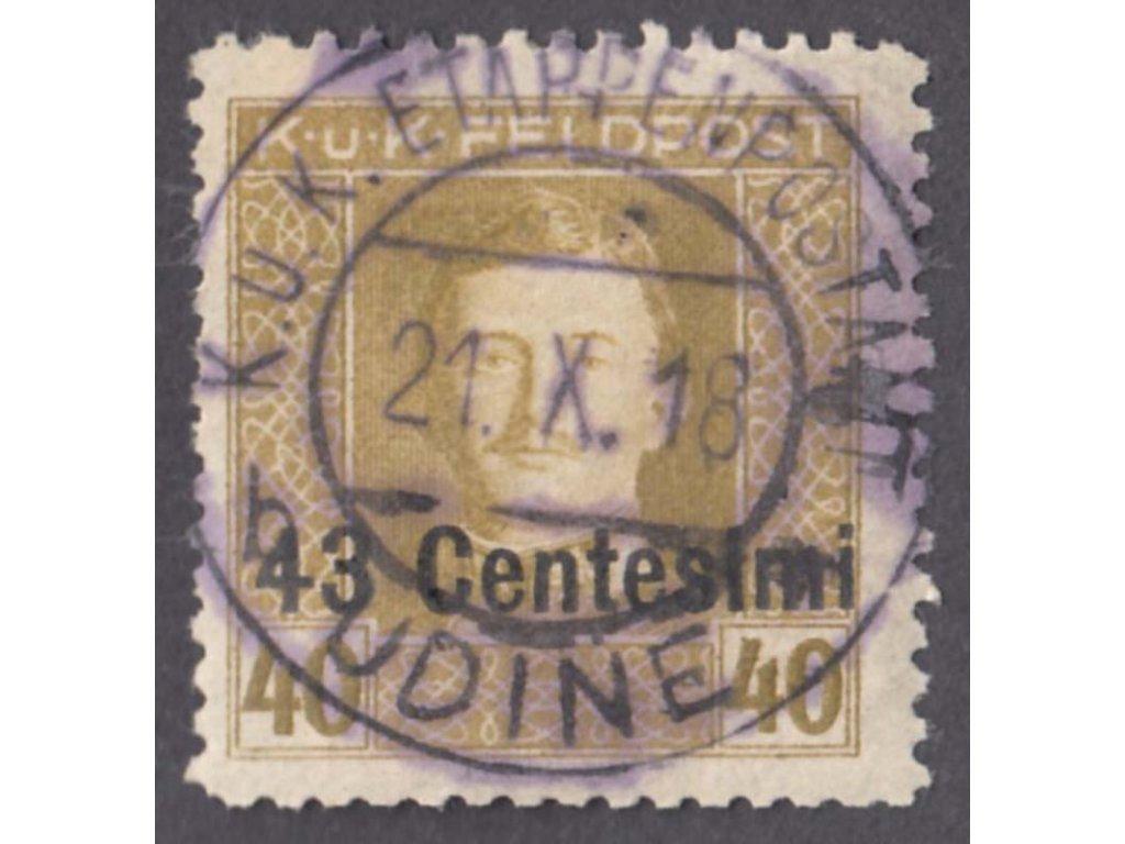 Itálie, 1918, 43C/40H Karel, L 11 1/2, MiNr.12B, razítkované