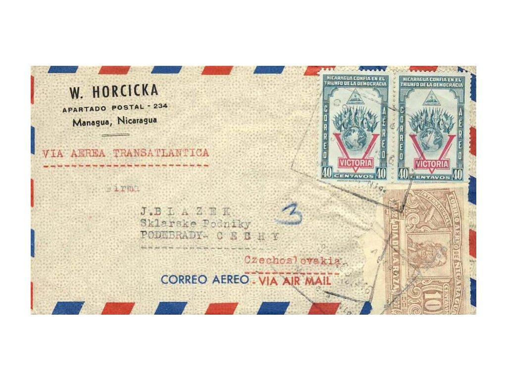 Nikaragua, 1946, DR Managua, letecký dopis