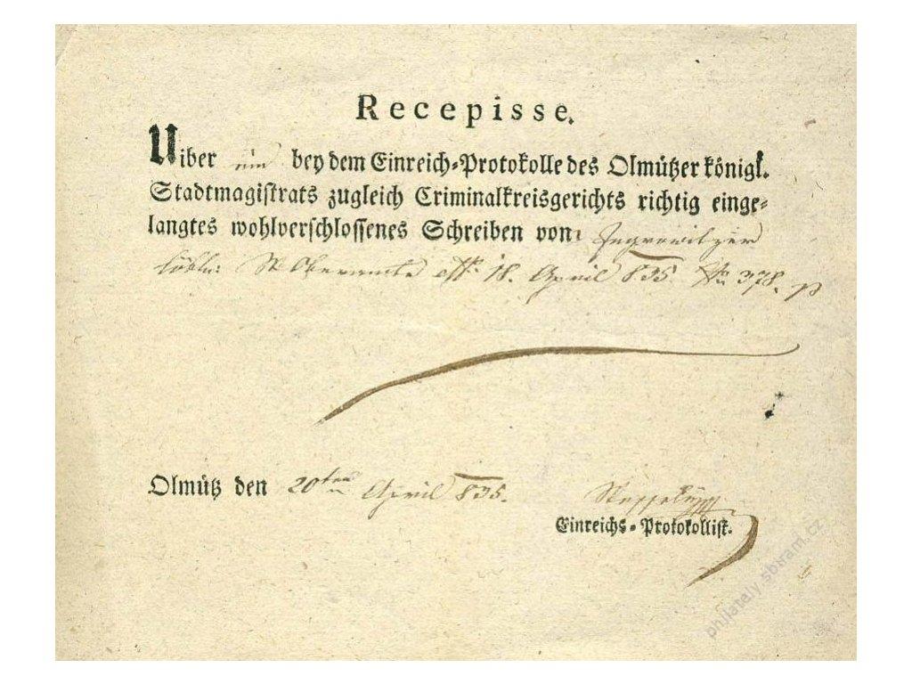 Olmutz, recepis z roku 1835, přeloženo, stopy stáří