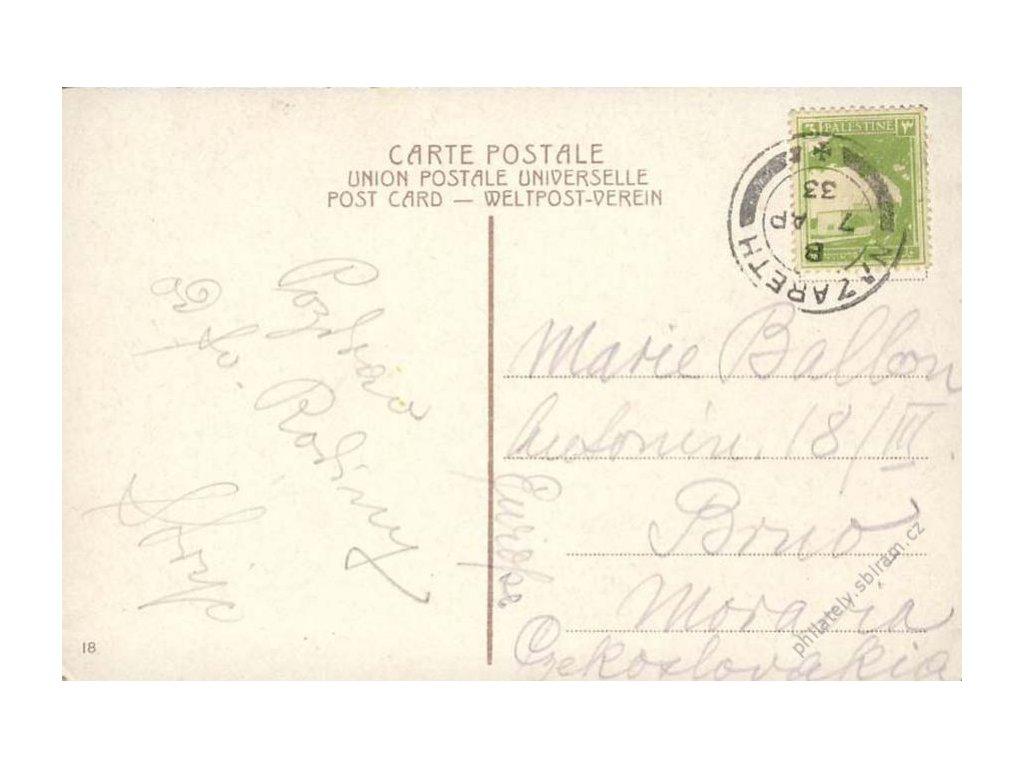 Palestina, 1933, DR Nazareth, pohlednice