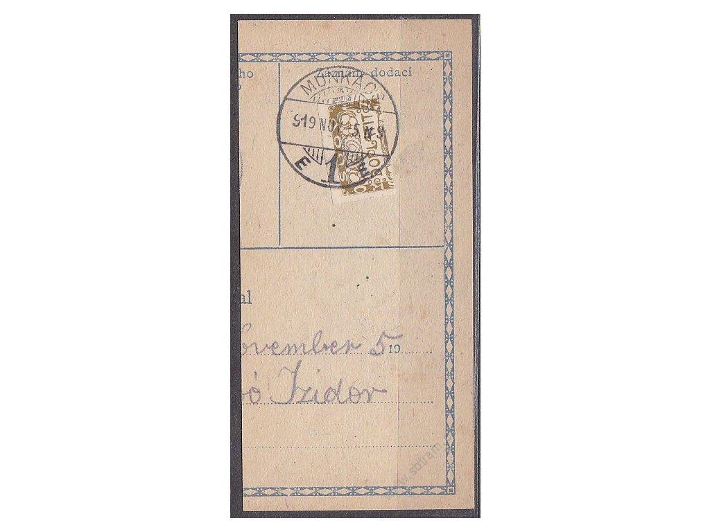 Ústřižek průvodky vyfr.půlenou zn. Doplatní 1919, razítko MUNKÁCS 5.11.19