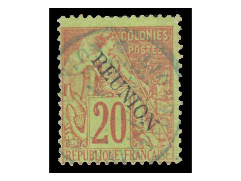 Reunion, 1891, 20C Alegorie, MiNr.23, razítkované, dv