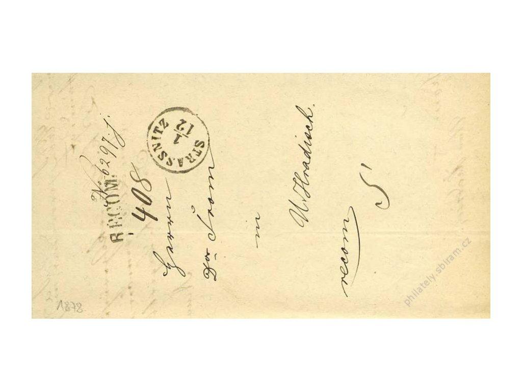 Strassnitz + RECOM, skládaný dopis z roku 1878