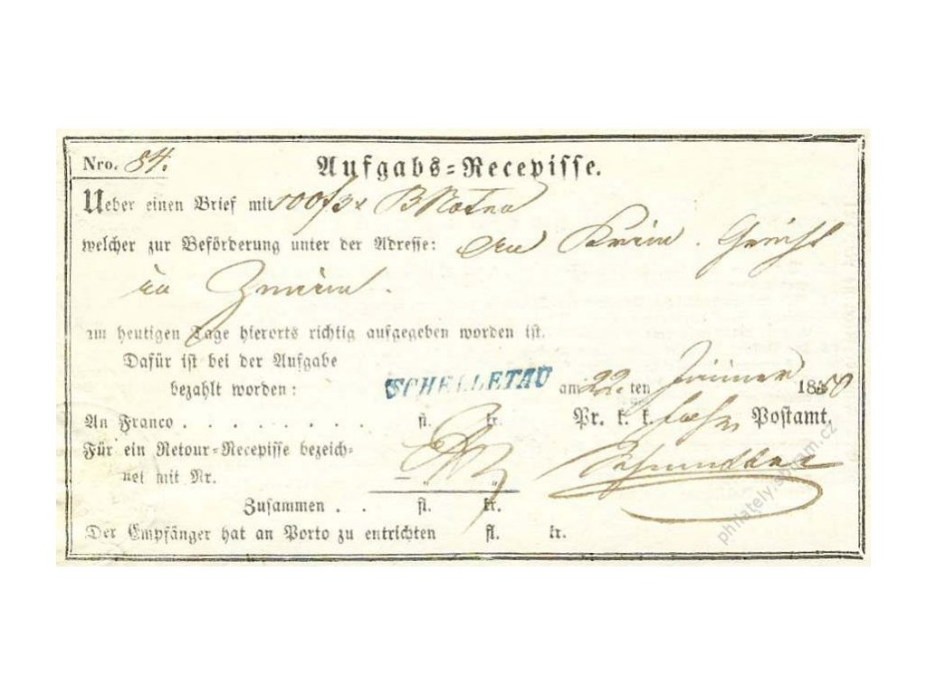 Schelletau, modré razítko, recepis z roku 1850