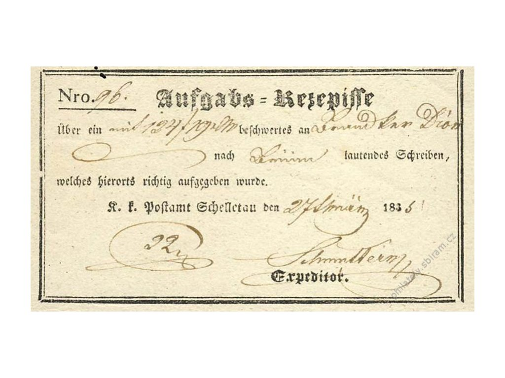 Schelletau, recepis z roku 1835, přehyb