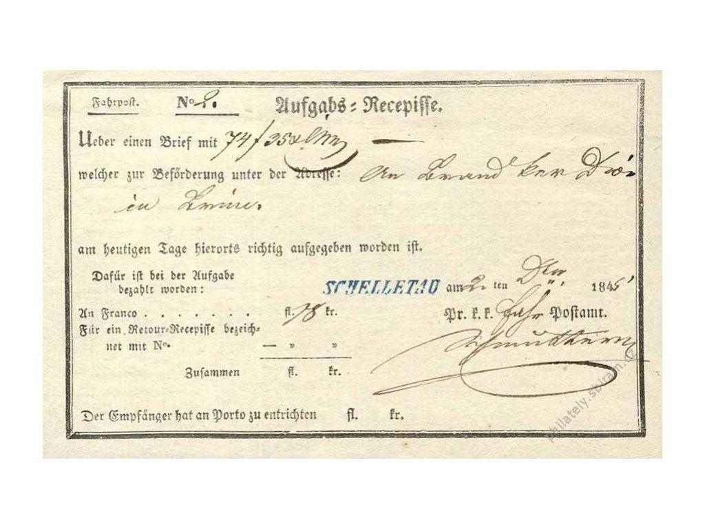 Schelletau, modrá razítko, recepis z roku 1845