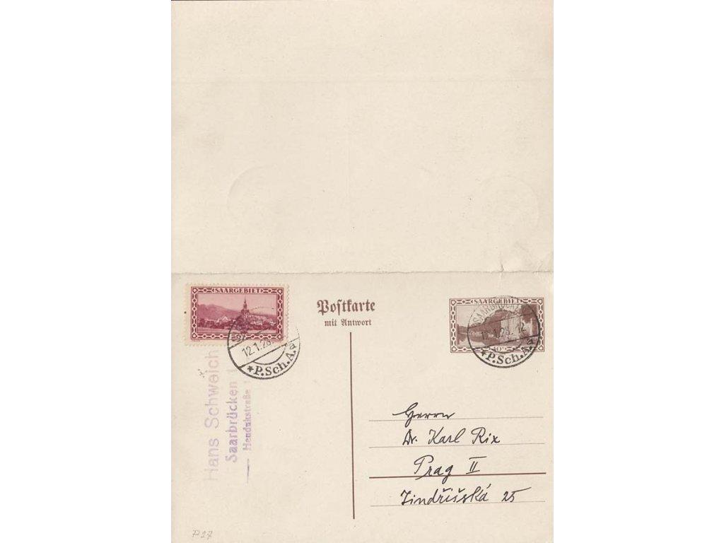 Saar, 1928, DR Saarbrücken, dvojitá a jednoduchá dopisnice 40C