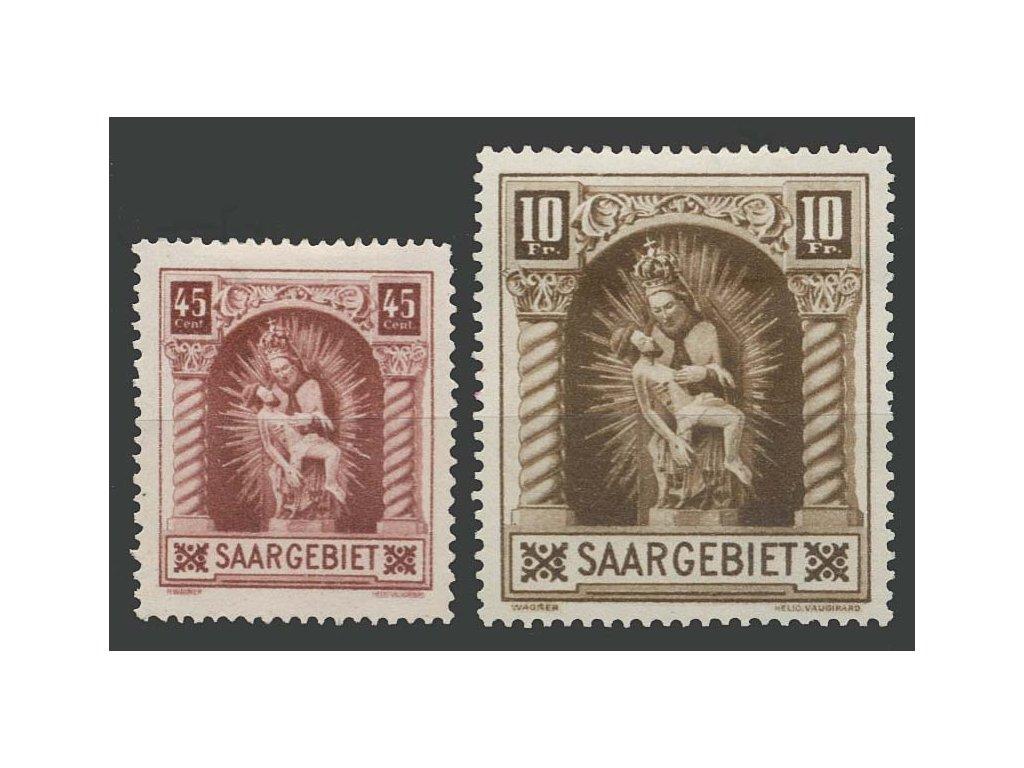Saar, 1925, 45C a 10Fr Madona, MiNr.102-3, těžší * , dv