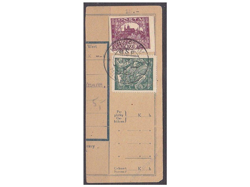 Ústřižek průvodky vyfr. 1000h Hradčany a 500h HaV, prošlé 1921