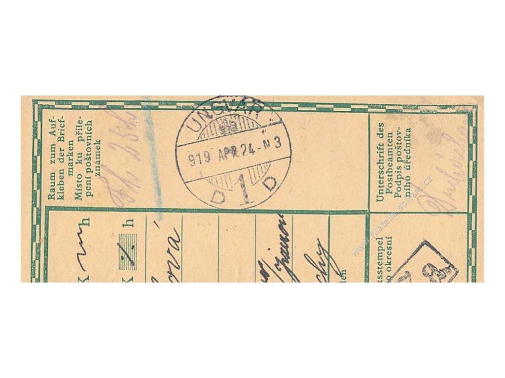 Ungvár, 1919, útržek průvodky, vyplaceno