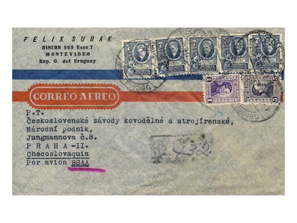 Uruguay, 1947, DR Montevideo, R-let. dopis