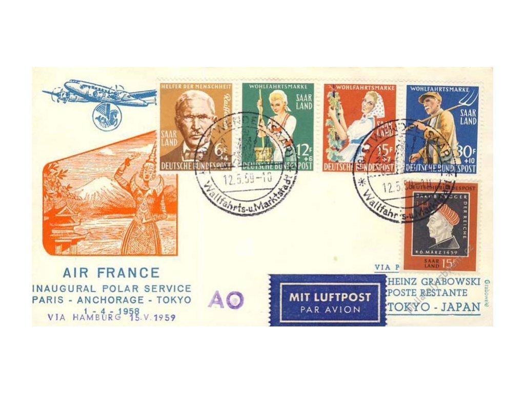 Saarland, DR Wendel, let. dopis Paris - Anchorage