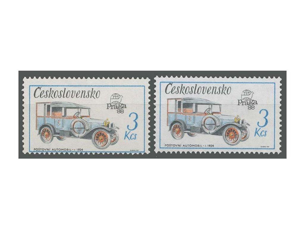 1987, 3Kčs Poštovní automobil, posun tisku, **