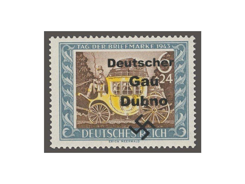 Dubno, německá známka s přetiskem Dubno, ** , bez záruky
