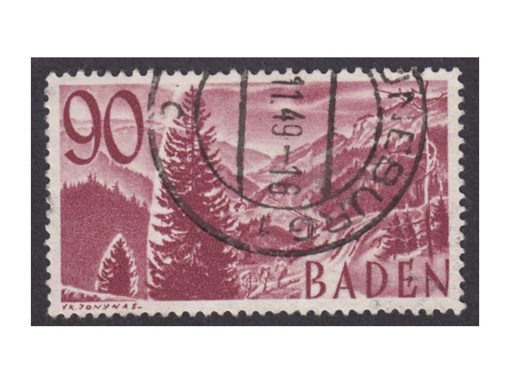 Baden, 1948, 90Pf Krajina, razítko, dv