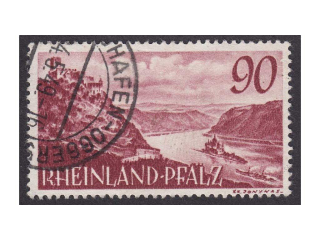 Rheinland-Pfalz, 1948, 90Pf Krajina, razítko, dv