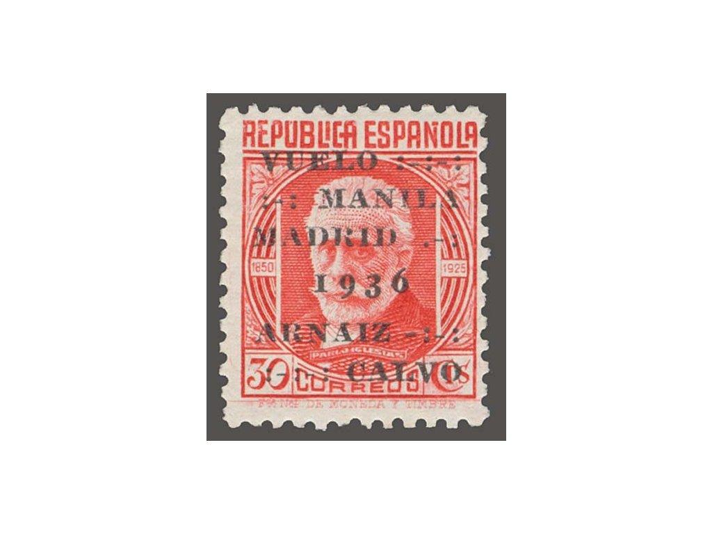 1936, 30C s přetiskem, MiNr.683A, * po nálepce