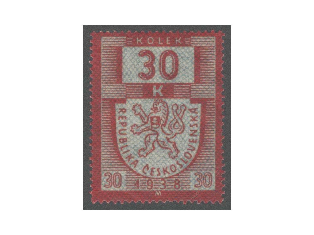 30K karmínová/modrá 1938M, **