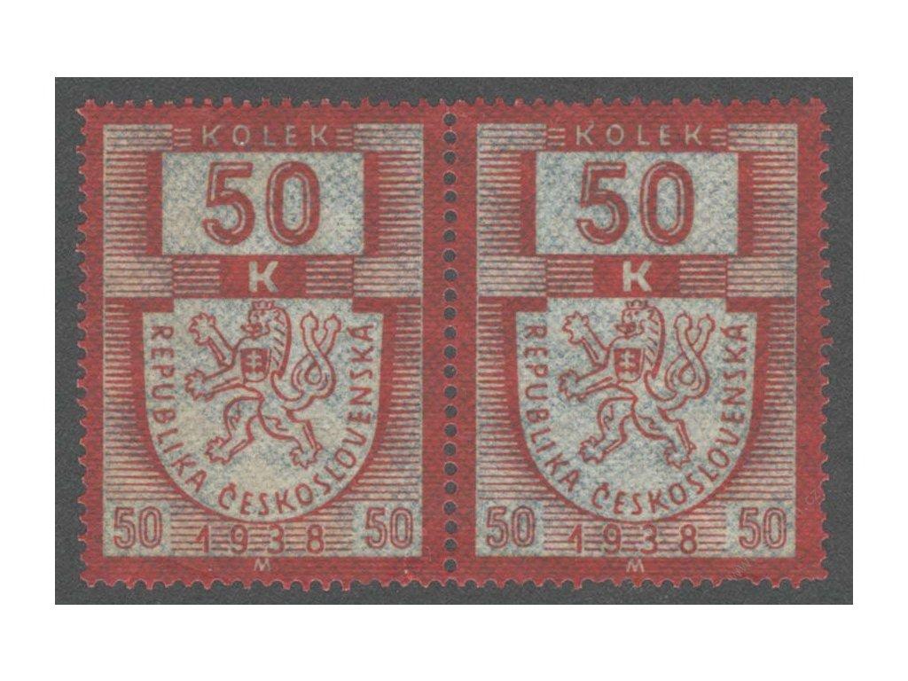 50K karmínová/modrá 1938M, ** , 2páska