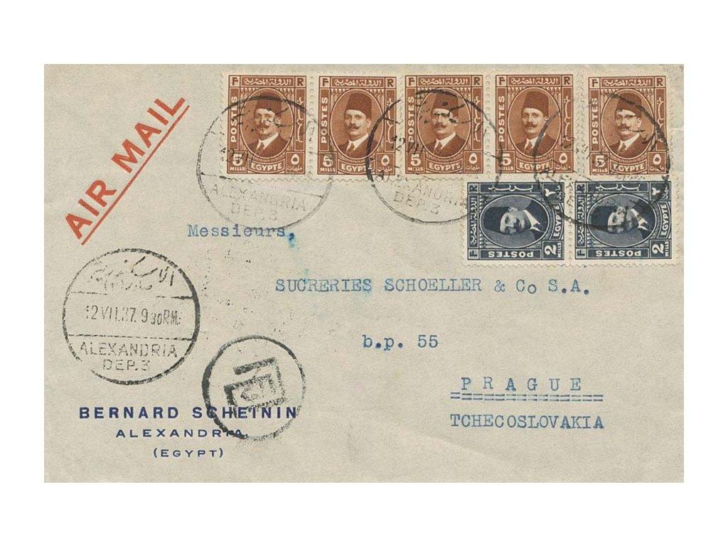 Egypt, 1937, DR Alexandria, letecký dopis zaslaný do Prahy