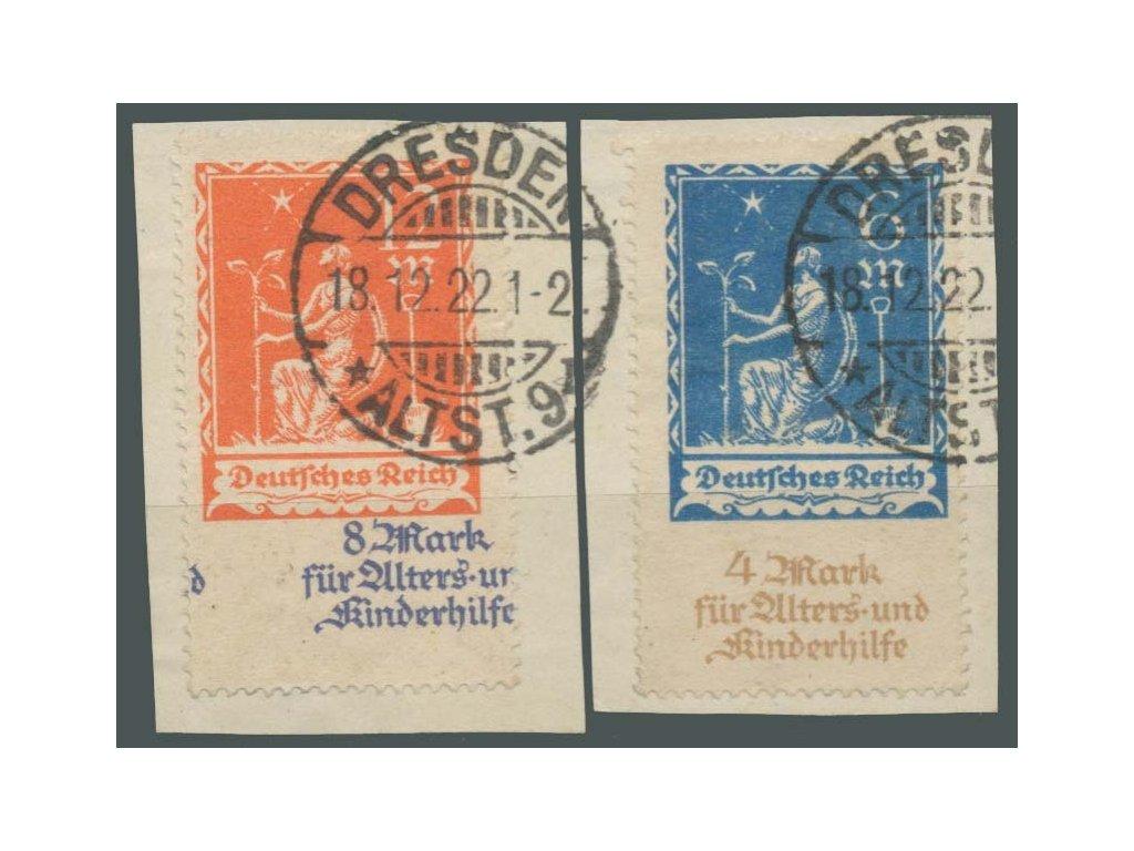 1922, 6-12M série, výstřižky, 12M posun textu, MiNr.233-34