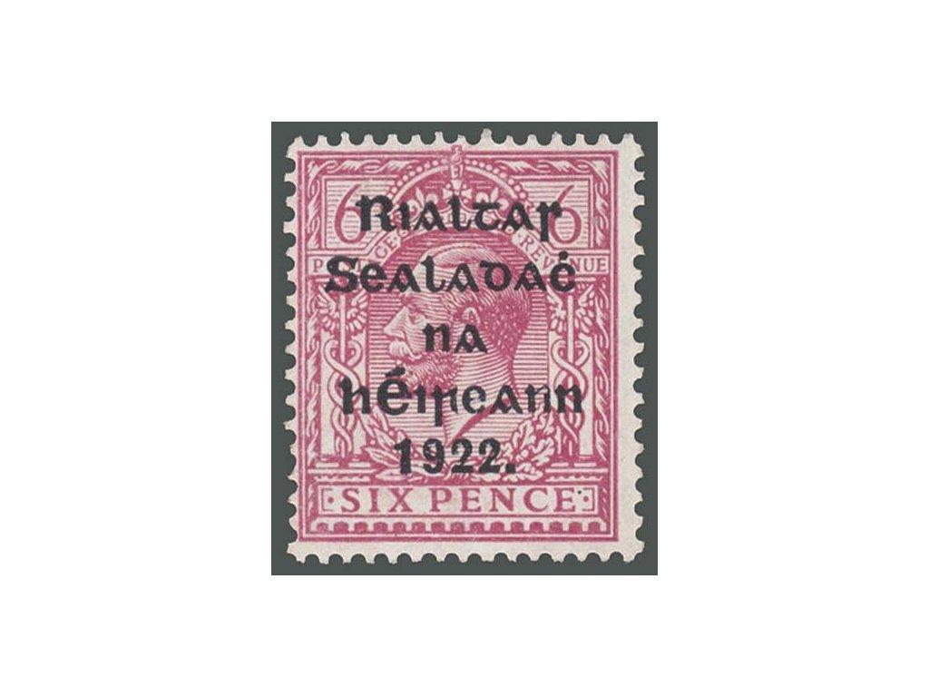 Irsko, 1922, 6Pg Jiří V., MiNr.21, * po nálepce