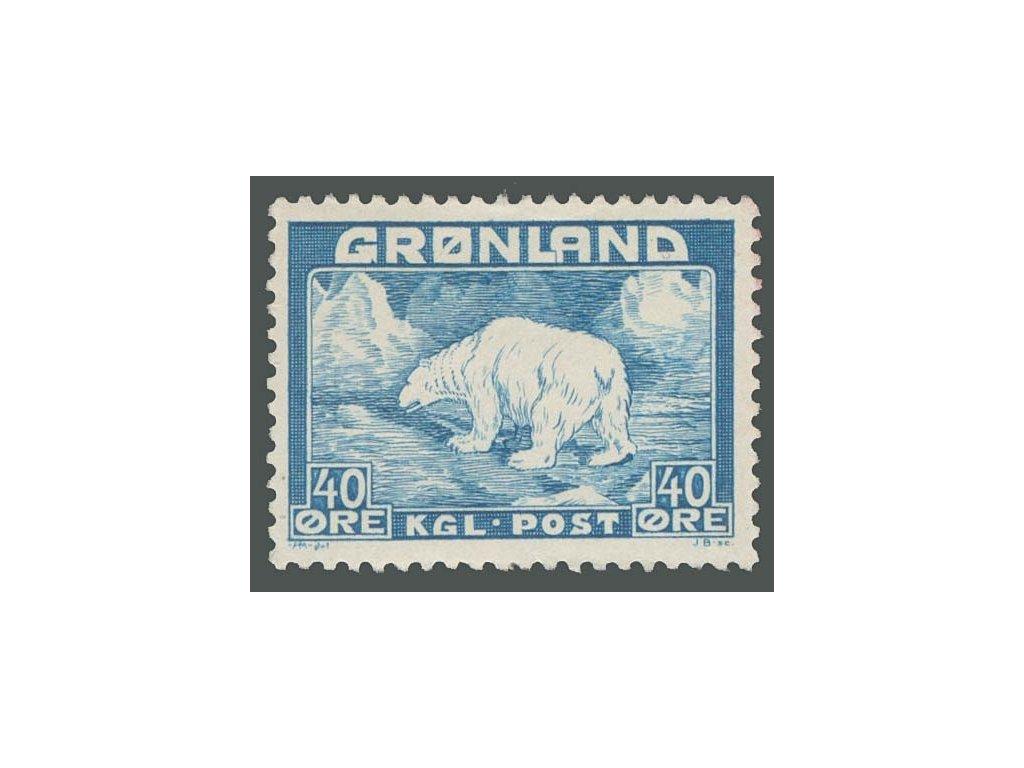 Grónsko, 1946, 40Q Lední medvěd, MiNr.27, * po nálepce