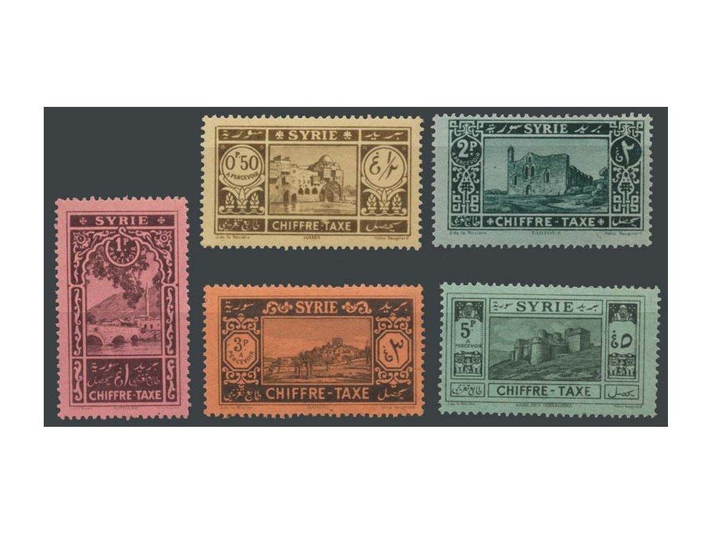 Sýrie, 1925, 0.50-5Fr doplatní bez koncových hodnot, **