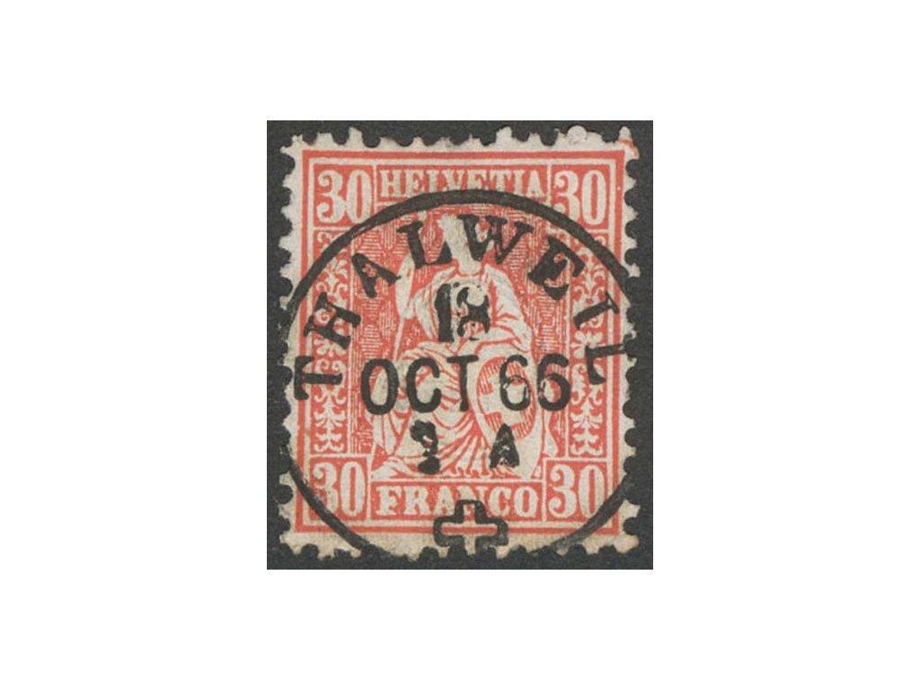 1862, 30C Helvetia, MiNr.25, razítkované