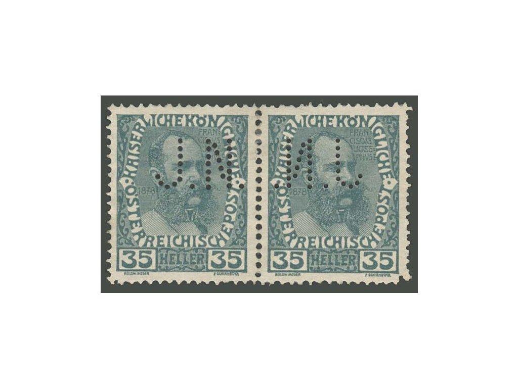 Rakousko, 1908, perfin J. N., * po nálepce, roh vada