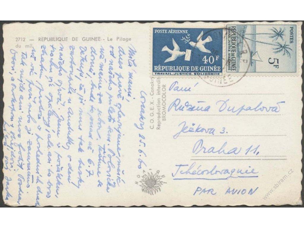 Guinea, 1960, DR Conakry, let. pohlednice zasl. do ČSR