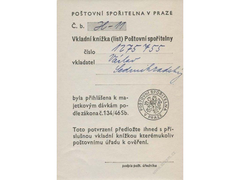 Poštovní spořitelna v Praze, list, původní lep - **